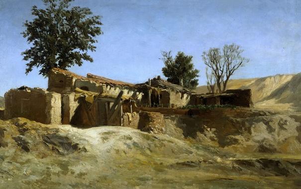 Фото обои пейзаж, картина, Карлос де Хаэс, Хибары на Холме Принсип Пио близ Мадрида