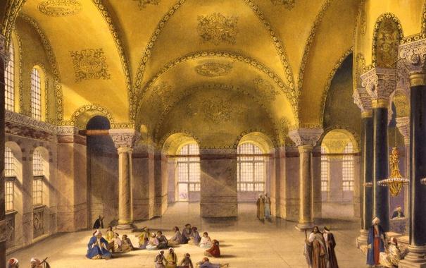 Фото обои интерьер, мечеть, музей, Стамбул, Турция, Собор Святой Софии, Айия-Софья