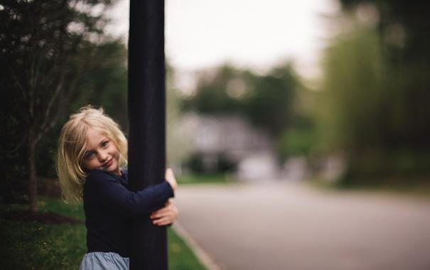 Фото обои взгляд, улица, девочка