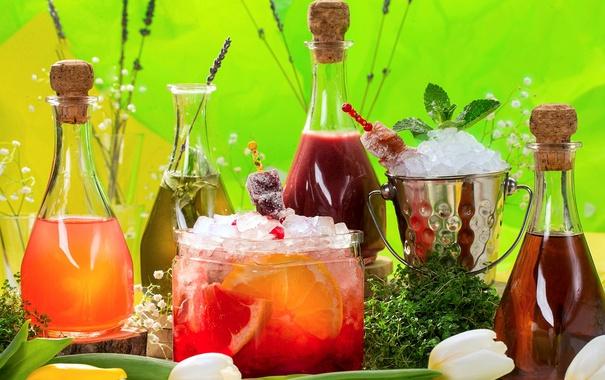Фото обои бутылки, фрукты, напитки, лимонад