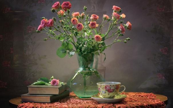 Фото обои розы, книги, чашка, текстура, букет