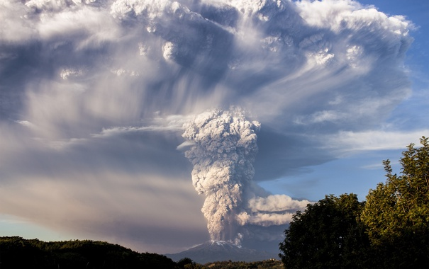 Фото обои дым, гора, вулкан, облако, Чили, Calbuco
