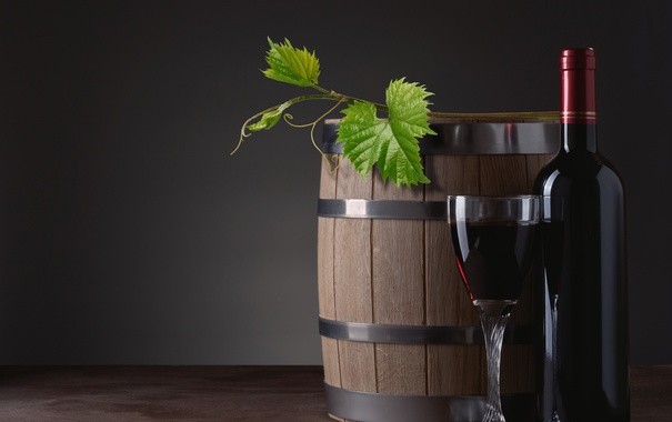 Фото обои вино, красное, бокал, бутылка, бочка, лоза