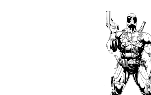 Фото обои Пистолет, Меч, Deadpool, Marvel, Дэдпул, Wade Wilson