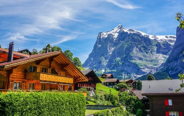 Фото обои небо, облака, горы, скалы, дома, Швейцария, городок