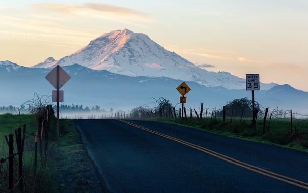 Фото обои дорога, горы, утро