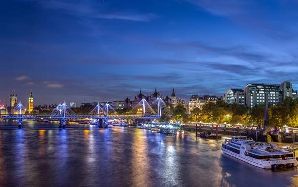 Фото обои ночь, мост, огни, река, Лондон, Великобритания, набережная
