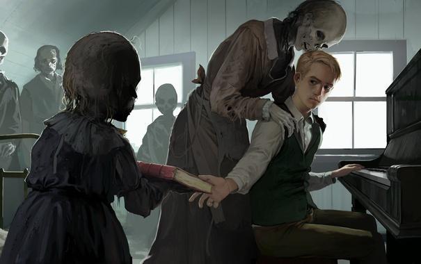 Фото обои мертвый, человек, окно, девочка, пианино, живой, Мертвецы