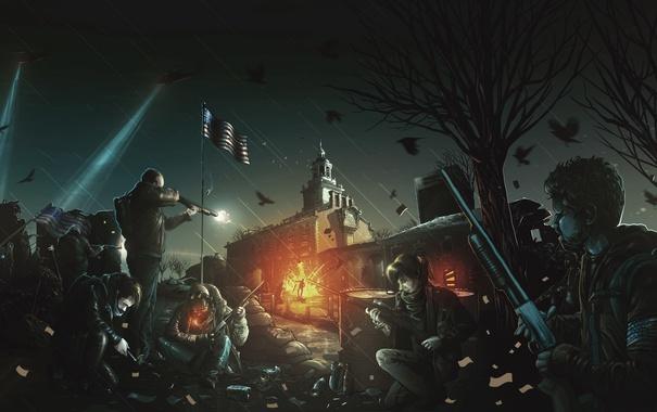 Фото обои ночь, оружие, люди, арт, дробовик, танки, повстанцы