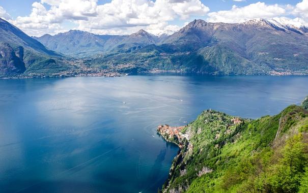 Фото обои облака, горы, озеро, Италия, панорама, Lake Como