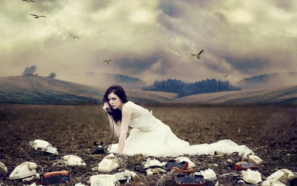 Фото обои поле, девушка, телефоны