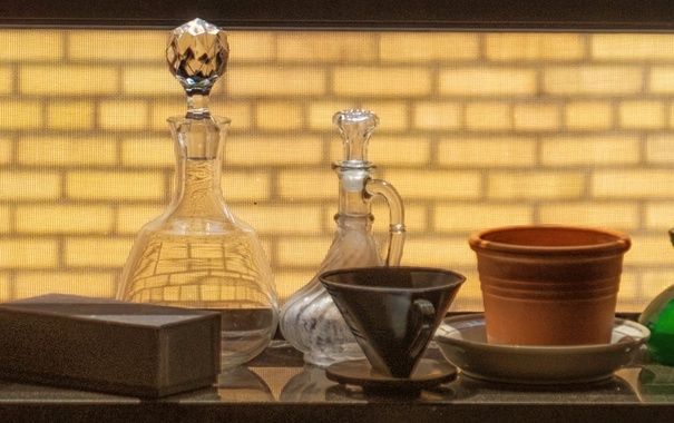 Фото обои чайник, чашка, посуда, кувшин, натюрморт, графин