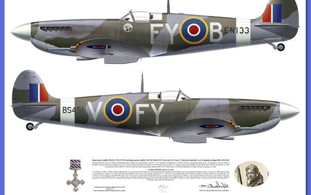 Фото обои WW2, Supermarine, Spitfire Mk IXC 611 SQ Biggin