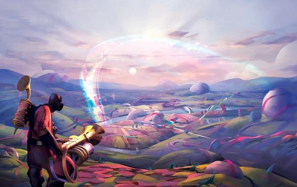 Фото обои фиолетовый, облака, круги, горы, полосы, ленты, река