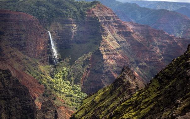 Фото обои горы, природа, водопад, Kauai, Кауаи
