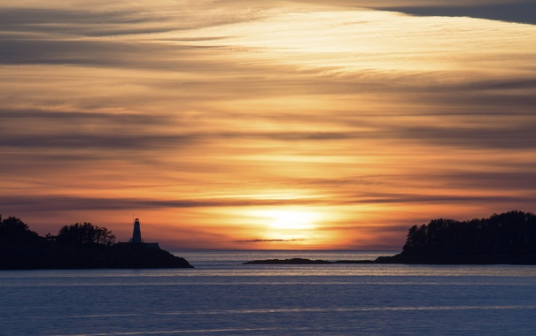 Фото обои British Columbia, Sunset, Lighthouse
