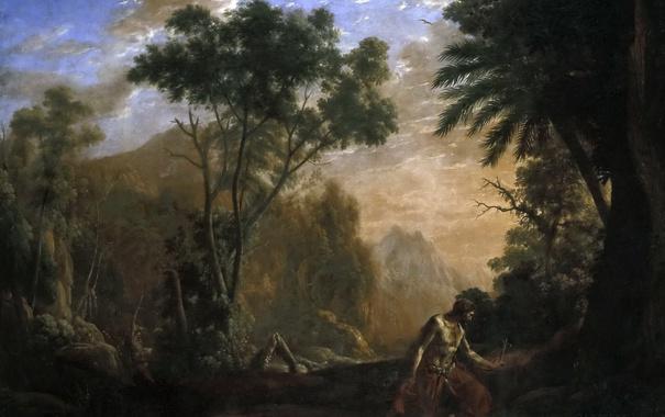 Фото обои картина, Клод Лоррен, Пейзаж со Святим Онофрием