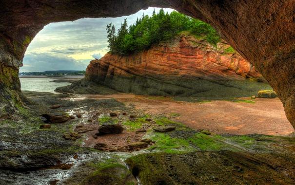 Фото обои природа, скалы, отлив, Канада, грот, Нью-Брансуик, Сент-Мартинс