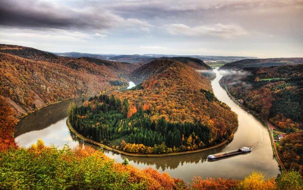 Фото обои осень, лес, горы, река, Германия, изгиб, панорама