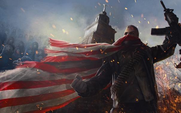 Фото обои война, башня, флаг, воин, арт, автомат, Homefront: The Revolution