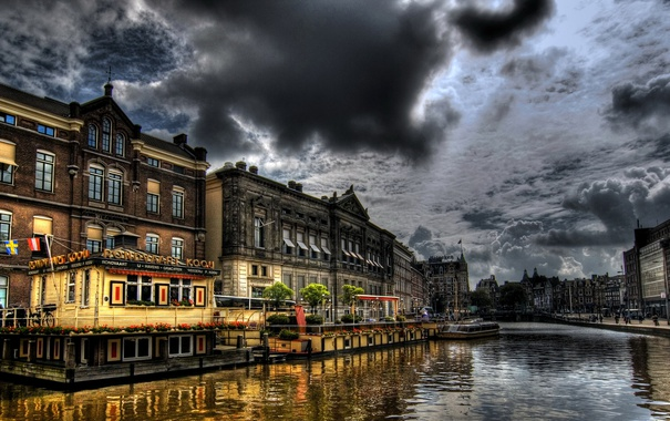 Фото обои небо, облака, дома, обработка, hdr, Амстердам, Нидерланды