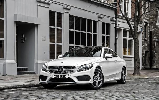 Фото обои белый, Mercedes-Benz, мерседес, AMG, Coupe, C-Class, C205