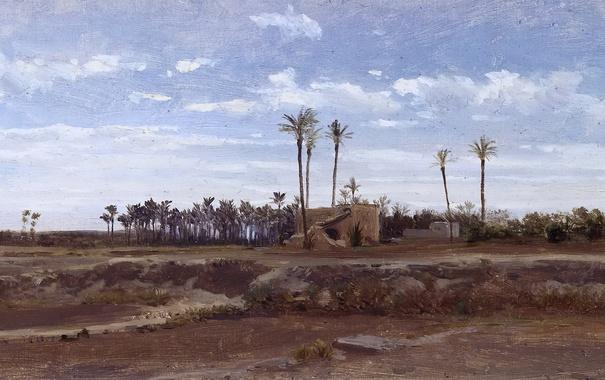 Фото обои деревья, пейзаж, картина, Карлос де Хаэс, Пальмовый Лес в Эльче