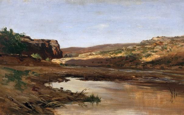 Фото обои пейзаж, картина, Карлос де Хаэс, Пруд около Харабы в Арагоне