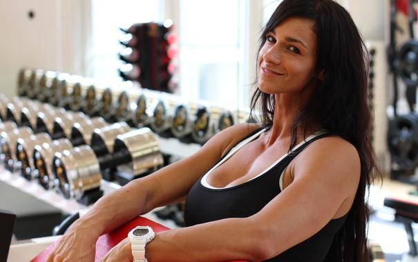 Фото обои model, look, bodybuilder, Landolt Cindy