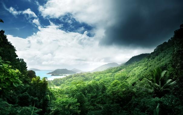 Фото обои море, зелень, небо, острова, облака, тропики, джунгли