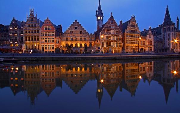 Фото обои ночь, огни, отражение, дома, Бельгия, Гент