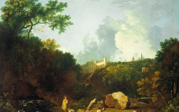 Фото обои пейзаж, картина, Пейзаж в Тиволи с Видом на Виллу Мецената, Ричард Уилсон