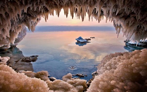 Фото обои кристаллы, пещера, соль, Иордания, Мертвое море