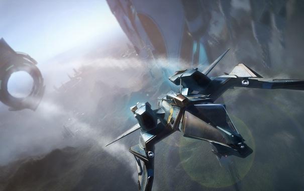 Фото обои космос, звезды, полет, корабль, Mustang, Star Citizen