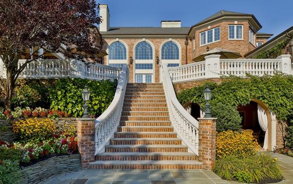 Фото обои дом, вилла, лестница, особняк