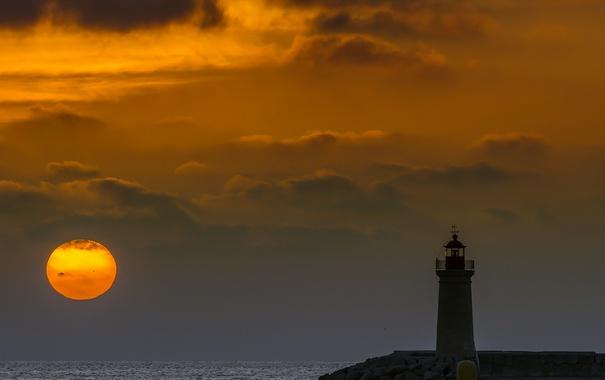 Фото обои море, ночь, луна, маяк