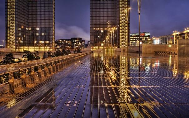 Фото обои отражение, Франция, Париж, дома, Иль-де-Франс, Национальная библиотека
