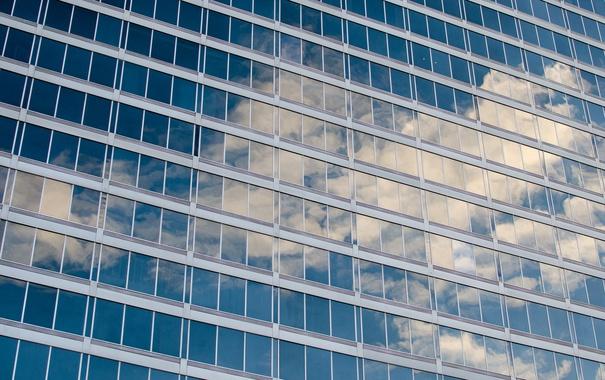Фото обои небо, облака, отражение, здание, окна