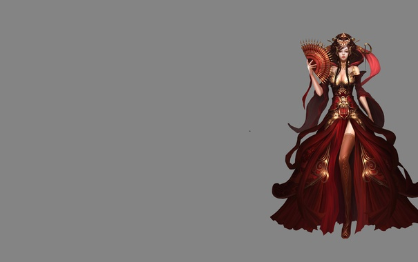 Фото обои девушка, платье, разрез, веер, арт, фЭнтези