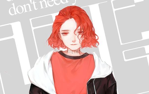 Фото обои девушка, надпись, красные глаза, красные волосы