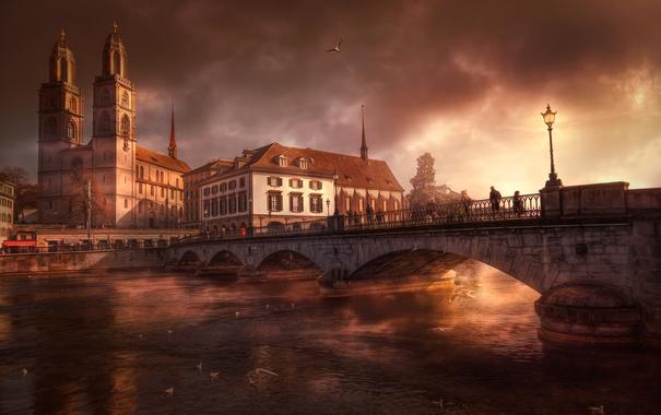 Фото обои тучи, мост, река, дома, Швейцария, церковь, Цюрих