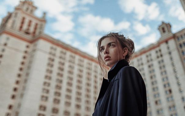 Фото обои Девушка, Взгляд, МГУ, Фотосессия, Виктория Вишневецкая