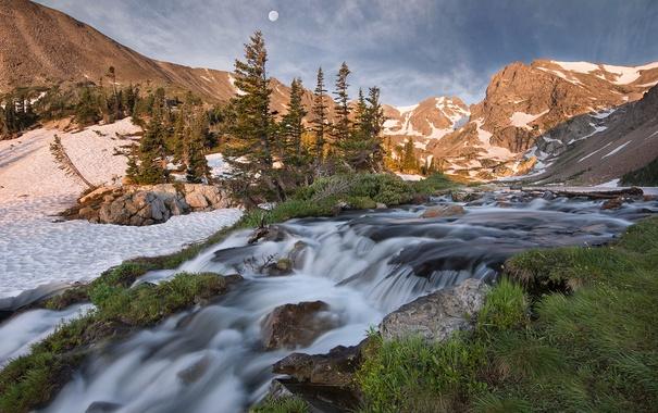 Фото обои Waterfall, Colorado, Indian Peaks, Lake Isabell