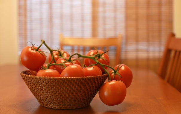 Фото обои стол, красные, помидоры, томаты