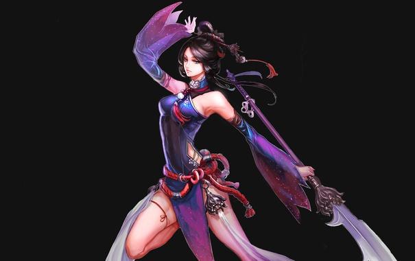 Фото обои взгляд, девушка, лицо, поза, оружие, фон, аниме