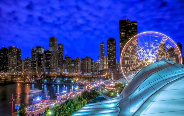 Фото обои озеро, здания, Чикаго, Иллинойс, ночной город, Chicago, Illinois