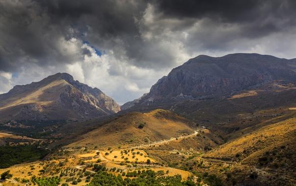 Фото обои облака, горы, остров, Греция, долина, Крит, Crete
