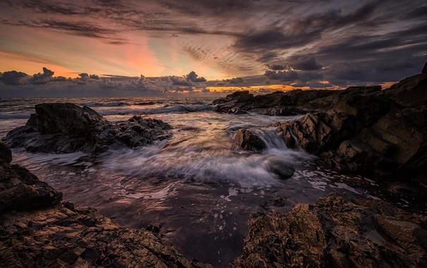 Фото обои море, небо, облака, закат, природа