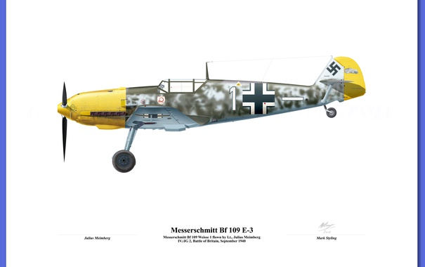 Фото обои military, illustration, avion, josef Priller bf 109