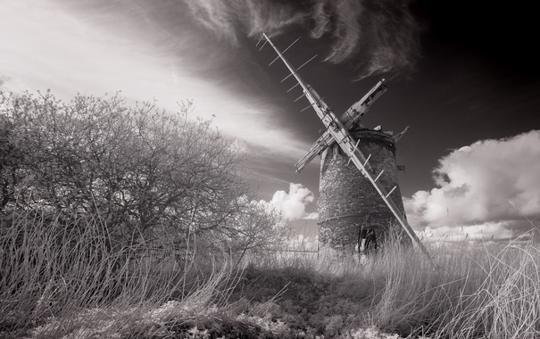 Фото обои пейзаж, природа, мельница